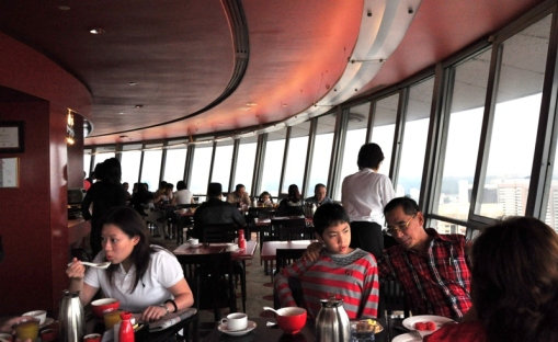 it's like in the KL tower but with dining tables, foods and all. u have to wait at the lower level before u are called for ur table....