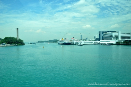 view from inside the monorail or Sentosa Express they called it while crossing the straits.