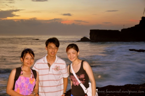 one of rare photos of three of us together with tanah lot beach as background