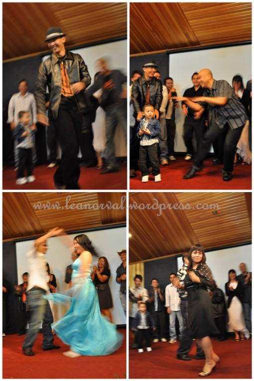 clockwise: davis with his coolness, pr. andy dunno what move, sis. dora seemed to enjoy herself immensely together with uncle stephen, the couple dance by roland and ezzie