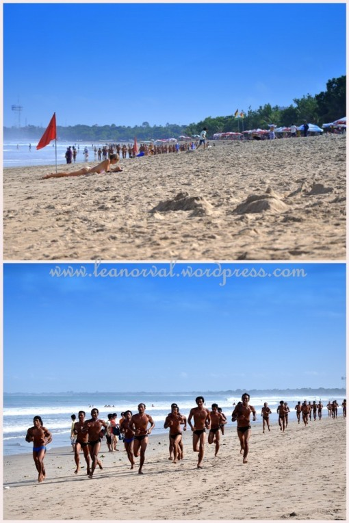 Top: 'Bule' sun-bathing    Bottom: some Mr. Universe Indonesia competition.... haha!! I kid!! It was some kind of life guard training or something like that. Funny to see them ran toward u half naked like that.... hehe...
