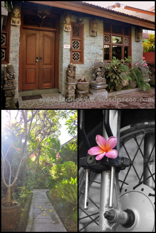 above: the entrance of the inn    below left: the garden in the middle of the compound    below right: see even KSiong's bike got flower!