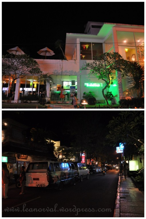 Top: a place called The Green Room. we thought it was some bar or something but we didnt enter.    Bottom: Ubud town at precicely 8.49p.m most of the shops were closing already....