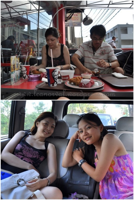 Top: grabbed KFC for our late lunch and their KFC are served with rice, not burger!! haha!!    Bottom: oh-so comfy ride to Tanah Lot :-)