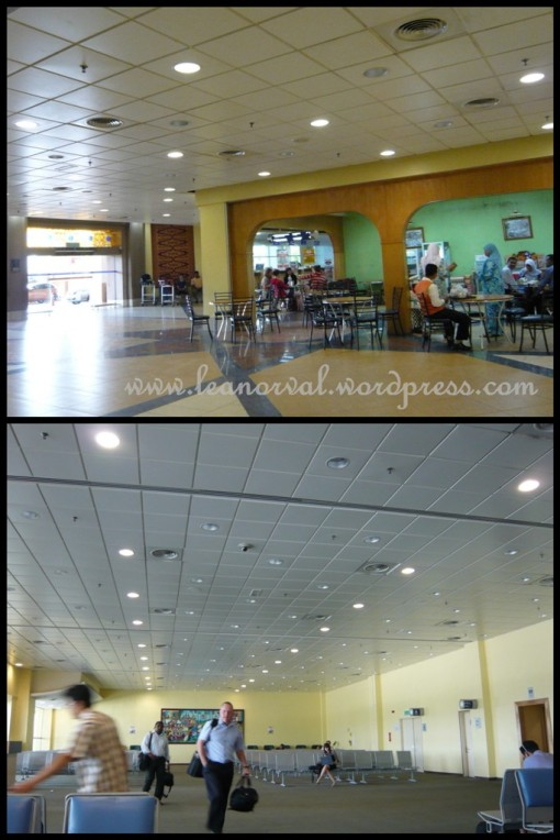 kota bahru airport... top: some cafeteria at the ground floor which we didnt enter   bottom: in the boarding hall.... kinda lots of foureigners that time.... boleh tahan!