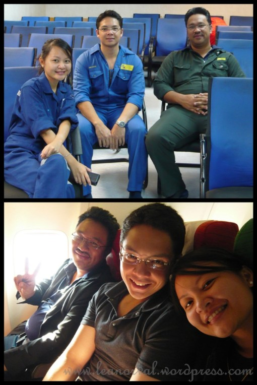 top: before the chopper arrive to bring us back to land... take picture 1st!    bottom: TheBigMan so cute here he did a peace sign!! haha!! PinkPanther looks so young and me look like my head had just chopped off or something! KNS!! but nvm lah, i still like this photo, cant look forever good, right? :-)