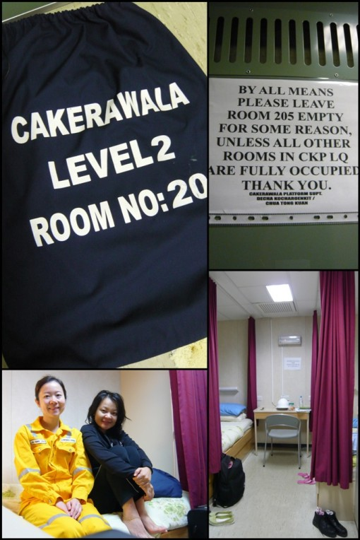 clockwise: our laundry sack, some stern warning at the door... (hehe! very exclusive), me & roommie (for one night only and this was taken early next morning before she went back to shore so i die die oso want to tk a pic with her but my eyes so swollen here), the room (yes, i was tat bored!)