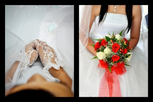 a bride's nervous grip and a bouquet